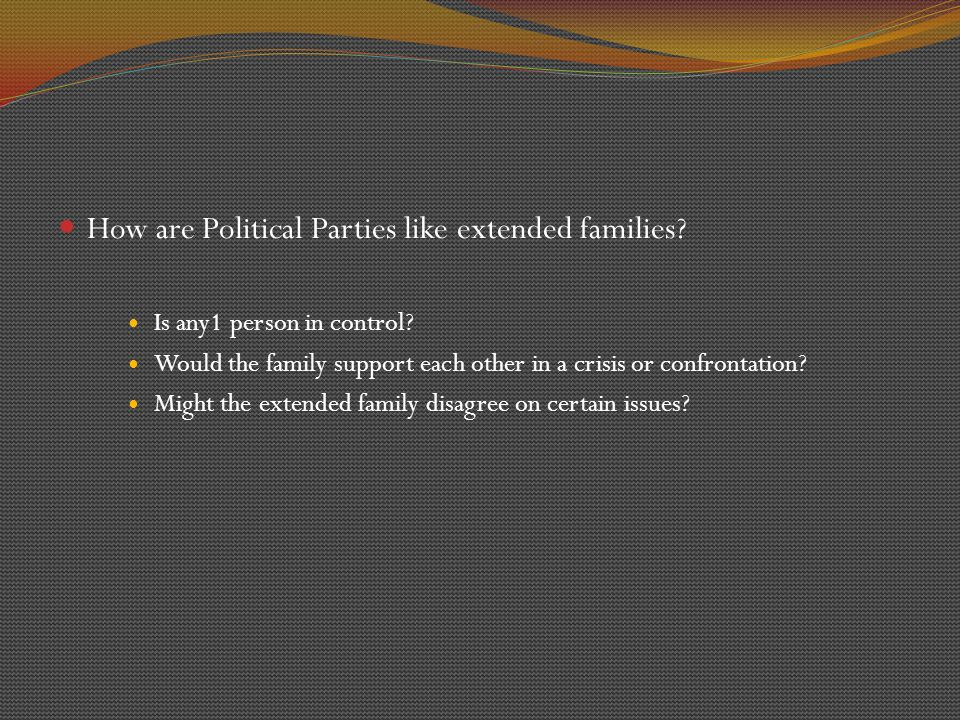 DECENTRALIZATION OF PARTIES Parties do NOT have a chain of command running from State all the way to Federal levels.