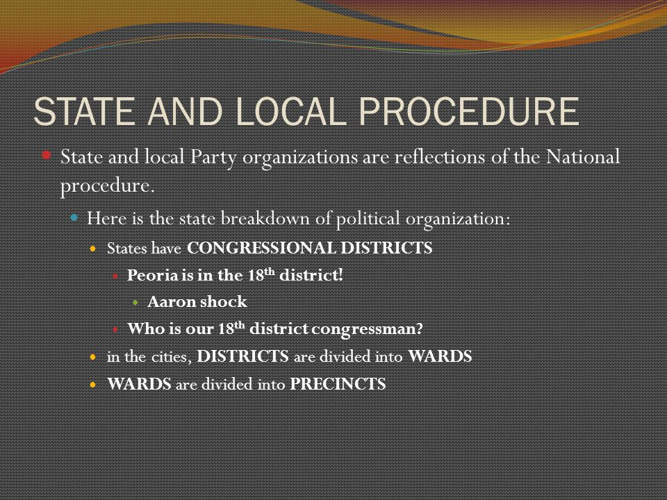 STATE AND LOCAL PROCEDURE State and local Party organizations are reflections of the National procedure.