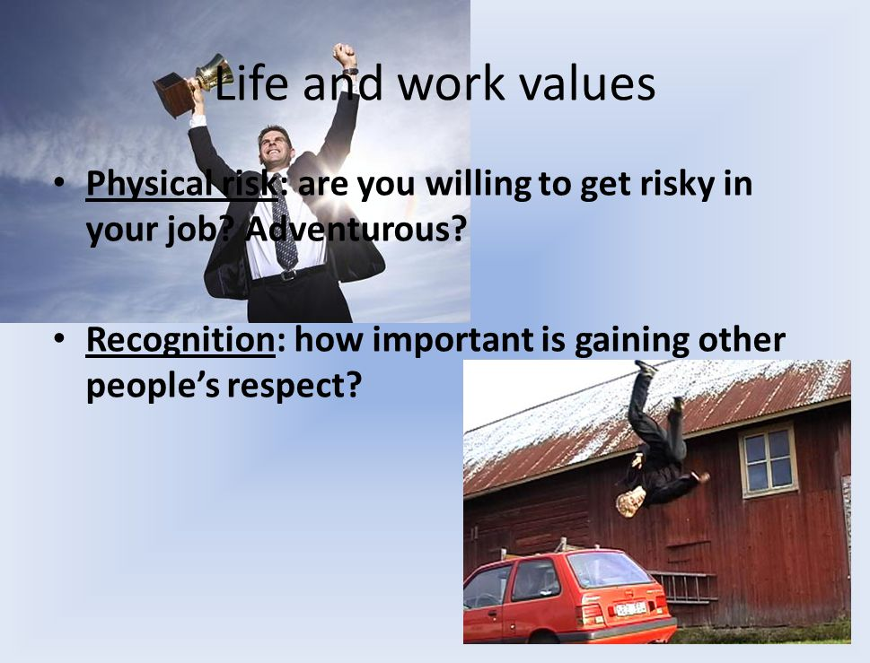 Life and work values Physical risk: are you willing to get risky in your job.