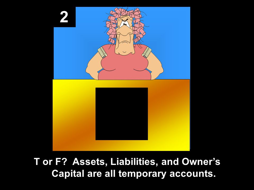 2 T or F? Assets, Liabilities, and Owner's Capital are all temporary accounts.