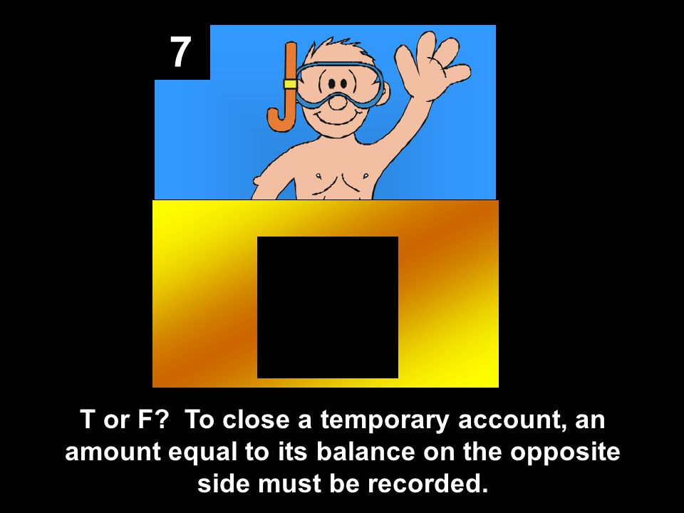 7 T or F? To close a temporary account, an amount equal to its balance on the opposite side must be recorded.