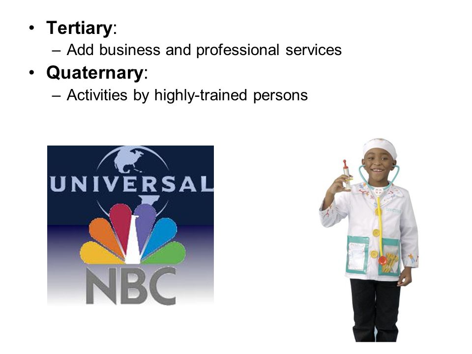 Tertiary: –Add business and professional services Quaternary: –Activities by highly-trained persons
