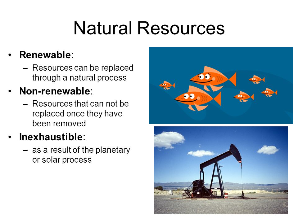 Natural Resources Renewable: –Resources can be replaced through a natural process Non-renewable: –Resources that can not be replaced once they have be