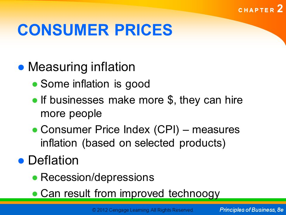 © 2012 Cengage Learning. All Rights Reserved. Principles of Business, 8e C H A P T E R 2 CONSUMER PRICES ●Measuring inflation ●Some inflation is good