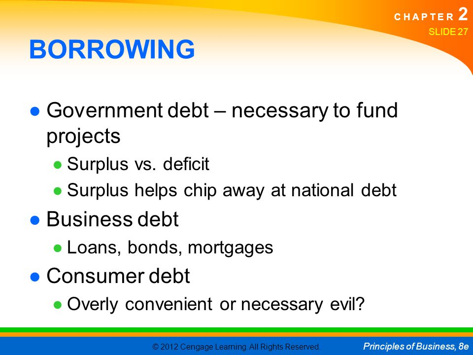 © 2012 Cengage Learning. All Rights Reserved. Principles of Business, 8e C H A P T E R 2 SLIDE 27 BORROWING ●Government debt – necessary to fund proje