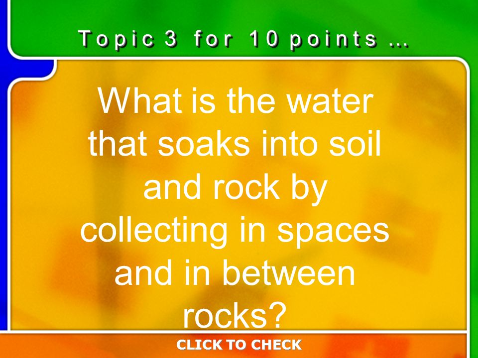3:103:10 What is the water that soaks into soil and rock by collecting in spaces and in between rocks.