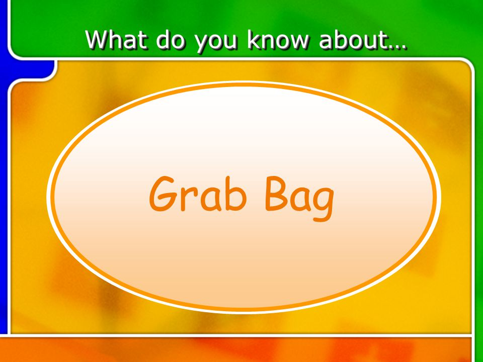 TOPIC 4 What do you know about… Grab Bag