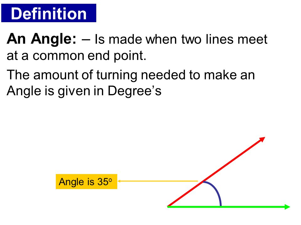 Definition An Angle: – Is made when two lines meet at a common end point. The amount of turning needed to make an Angle is given in Degree's Angle is