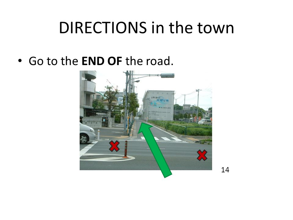 DIRECTIONS in the town Go to the END OF the road. 14