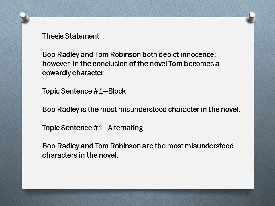 Thesis Statement Boo Radley and Tom Robinson both depict innocence; however, in the conclusion of the novel Tom becomes a cowardly character. Topic Se