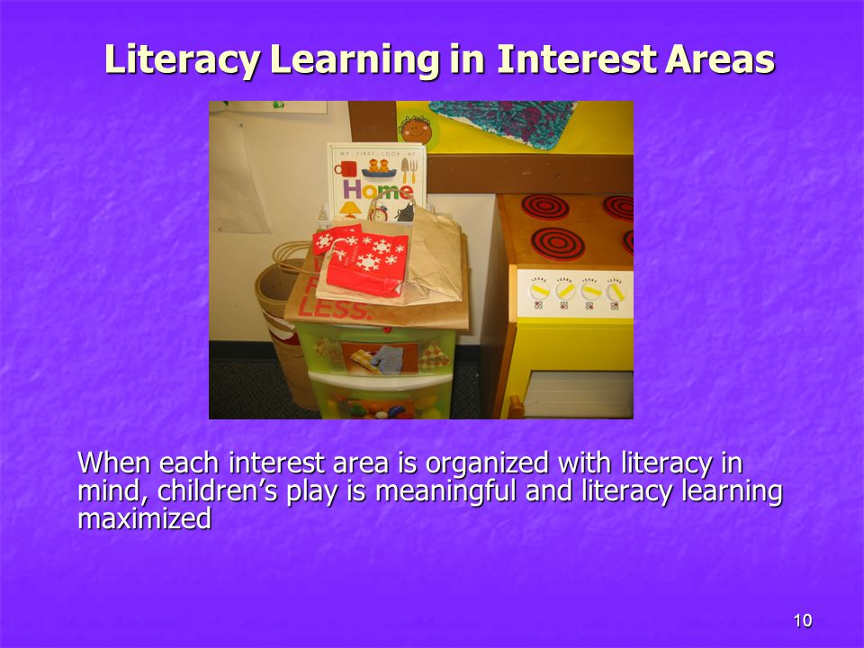 10 When each interest area is organized with literacy in mind, children's play is meaningful and literacy learning maximized Literacy Learning in Interest Areas