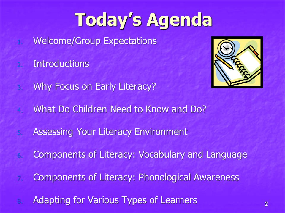 2 Today's Agenda 1.Welcome/Group Expectations 2. Introductions 3.