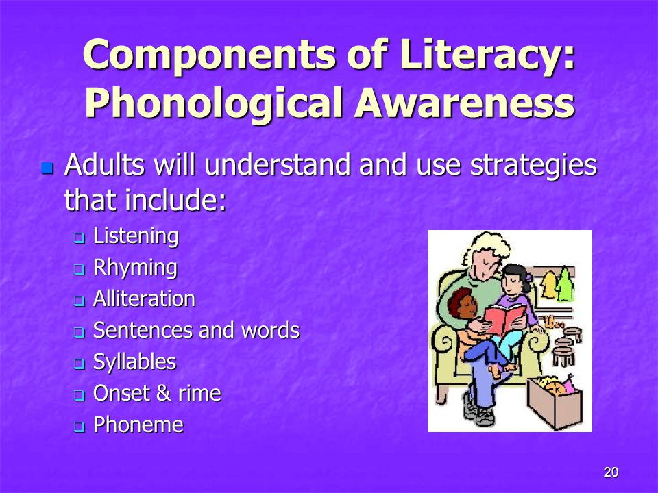 Components of Literacy: Phonological Awareness n Adults will understand and use strategies that include:  Listening  Rhyming  Alliteration  Sentences and words  Syllables  Onset & rime  Phoneme 20