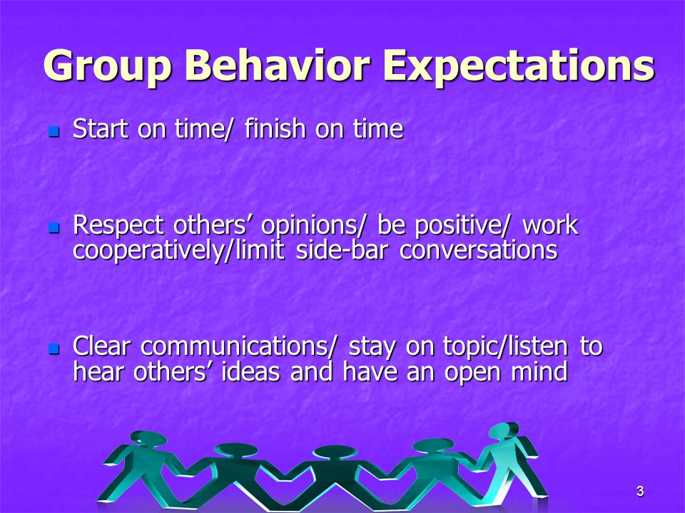 3 Group Behavior Expectations Start on time/ finish on time Start on time/ finish on time Respect others' opinions/ be positive/ work cooperatively/limit side-bar conversations Respect others' opinions/ be positive/ work cooperatively/limit side-bar conversations Clear communications/ stay on topic/listen to hear others' ideas and have an open mind Clear communications/ stay on topic/listen to hear others' ideas and have an open mind