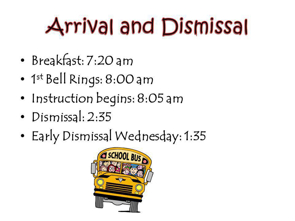 Breakfast: 7:20 am 1 st Bell Rings: 8:00 am Instruction begins: 8:05 am Dismissal: 2:35 Early Dismissal Wednesday: 1:35