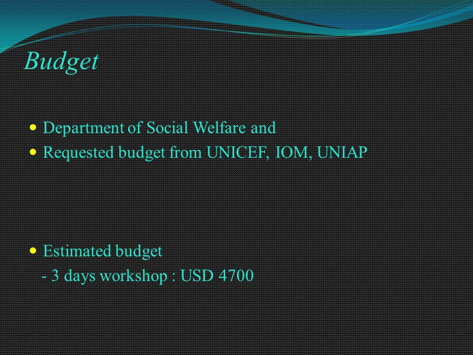 Budget Department of Social Welfare and Requested budget from UNICEF, IOM, UNIAP Estimated budget - 3 days workshop : USD 4700