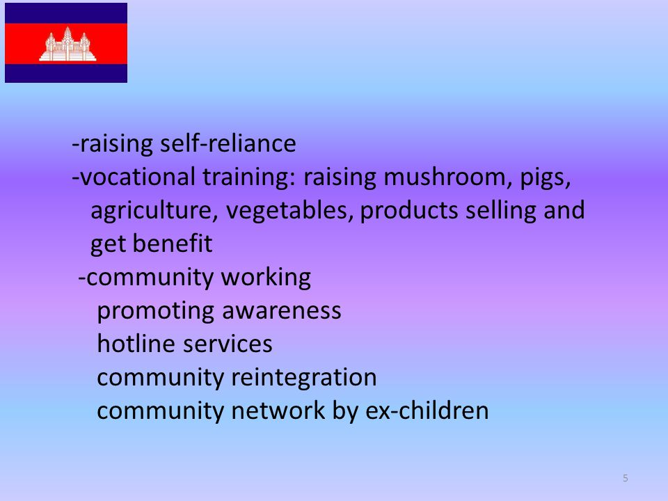 -raising self-reliance -vocational training: raising mushroom, pigs, agriculture, vegetables, products selling and get benefit -community working promoting awareness hotline services community reintegration community network by ex-children 5