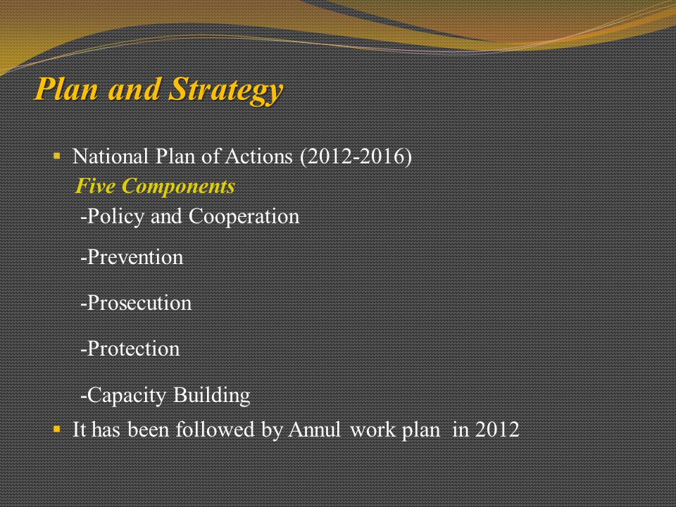 Plan and Strategy  National Plan of Actions (2012-2016) Five Components -Policy and Cooperation -Prevention -Prosecution -Protection -Capacity Building  It has been followed by Annul work plan in 2012