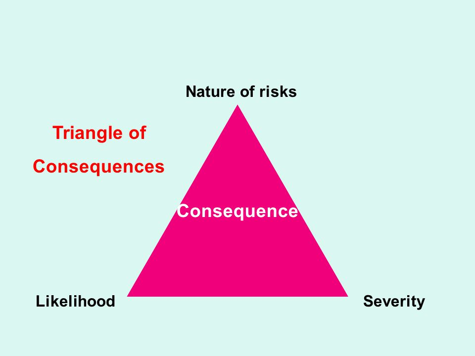 Consequence Nature of risks LikelihoodSeverity Triangle of Consequences