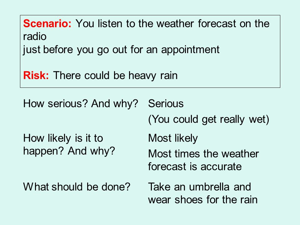 Scenario: You listen to the weather forecast on the radio just before you go out for an appointment Risk: There could be heavy rain How serious.