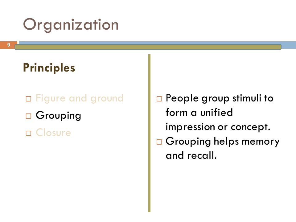 Organization  Figure and ground  Grouping  Closure  People have a need for closure and organize perceptions to form a complete picture.