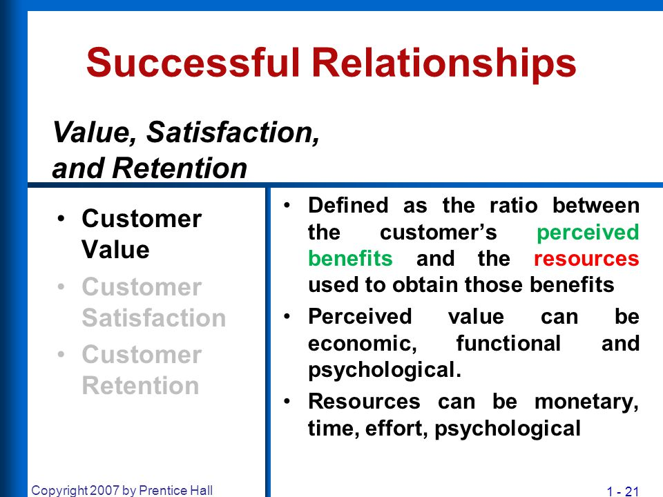 1 - 21 Copyright 2007 by Prentice Hall Successful Relationships Customer Value Customer Satisfaction Customer Retention Defined as the ratio between t