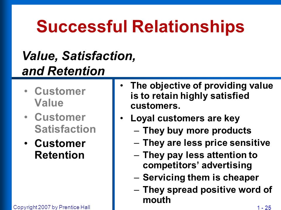 1 - 25 Copyright 2007 by Prentice Hall Successful Relationships Customer Value Customer Satisfaction Customer Retention The objective of providing val