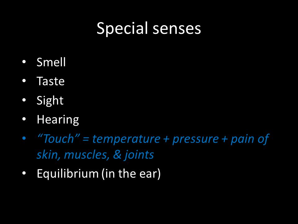 Special senses Smell Taste Sight Hearing Touch = temperature + pressure + pain of skin, muscles, & joints Equilibrium (in the ear)