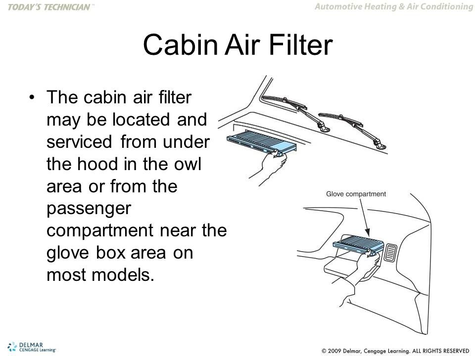 Cabin Air Filter The cabin air filter may be located and serviced from under the hood in the owl area or from the passenger compartment near the glove