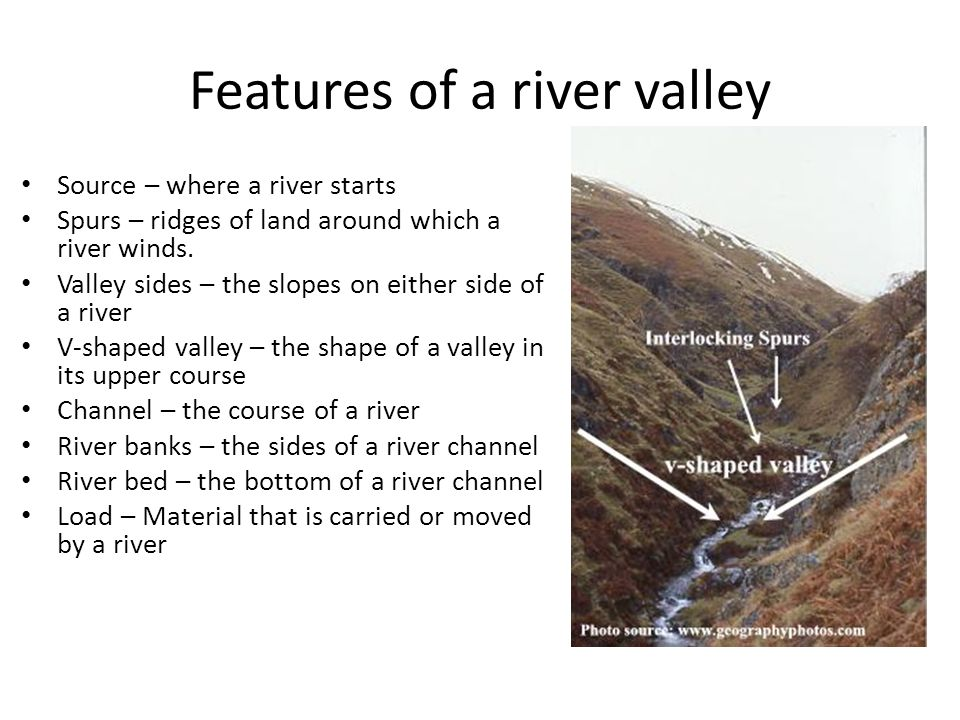 Features of a river valley Source – where a river starts Spurs – ridges of land around which a river winds. Valley sides – the slopes on either side o