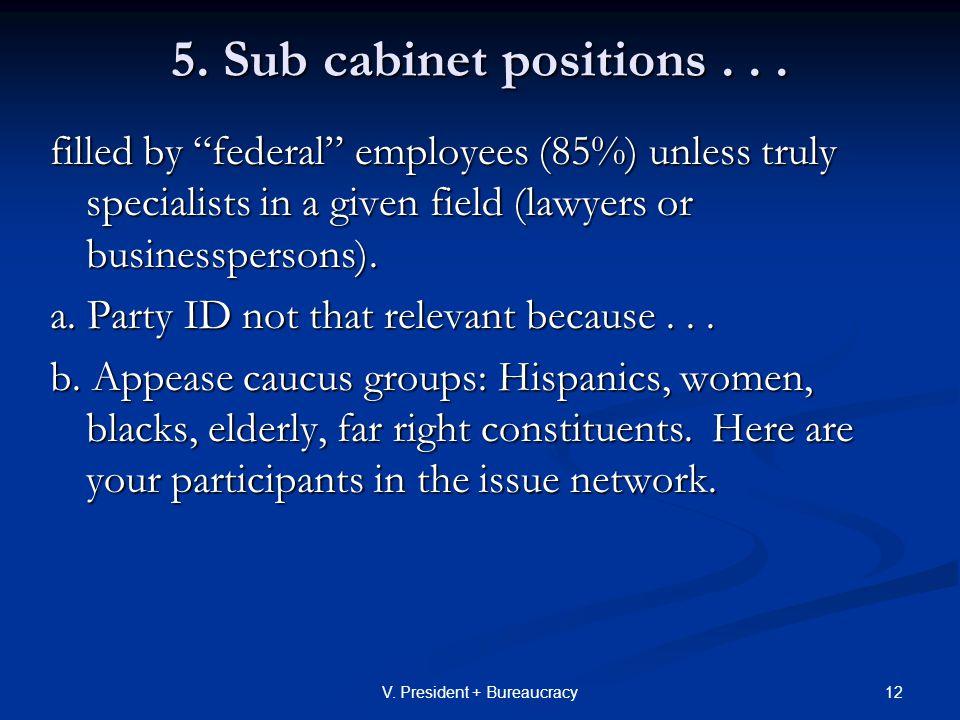 12V. President + Bureaucracy 5. Sub cabinet positions...