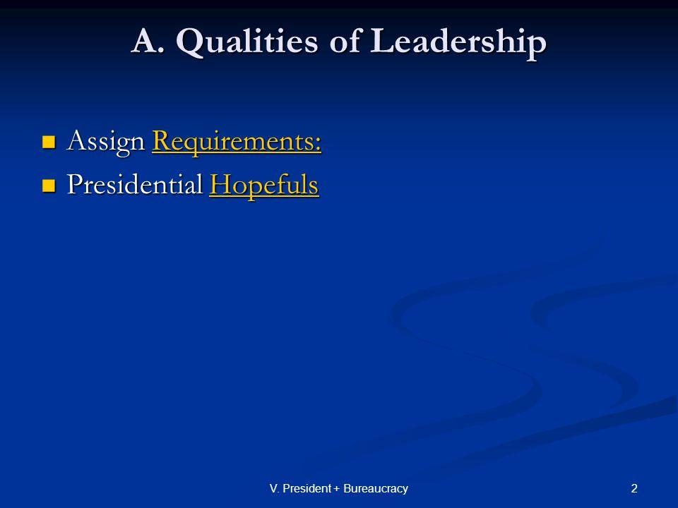 13V.President + Bureaucracy D. Presidential Leadership- How get others to follow - 1.