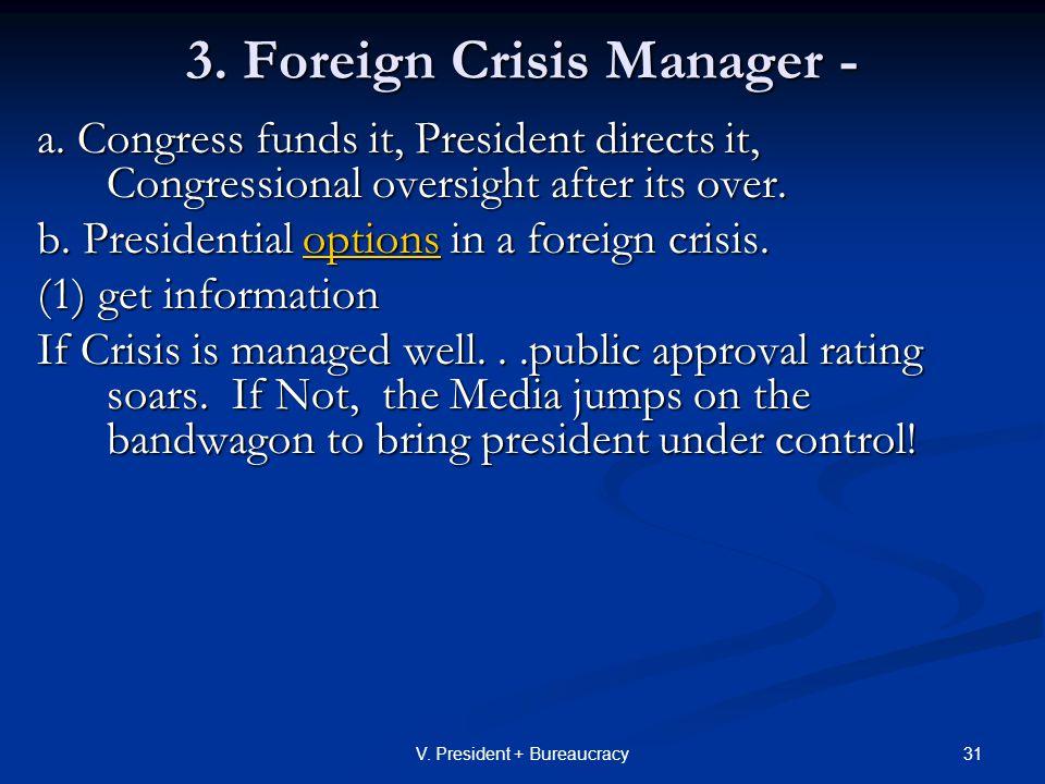 31V. President + Bureaucracy 3. Foreign Crisis Manager - a.