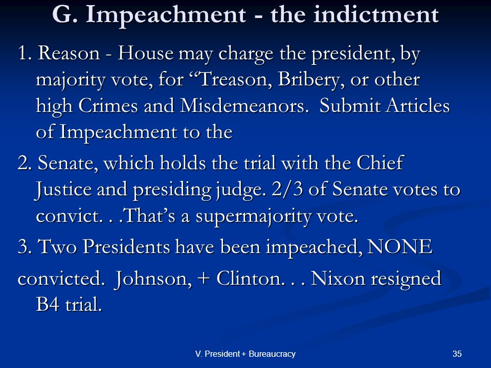 35V. President + Bureaucracy G. Impeachment - the indictment 1.