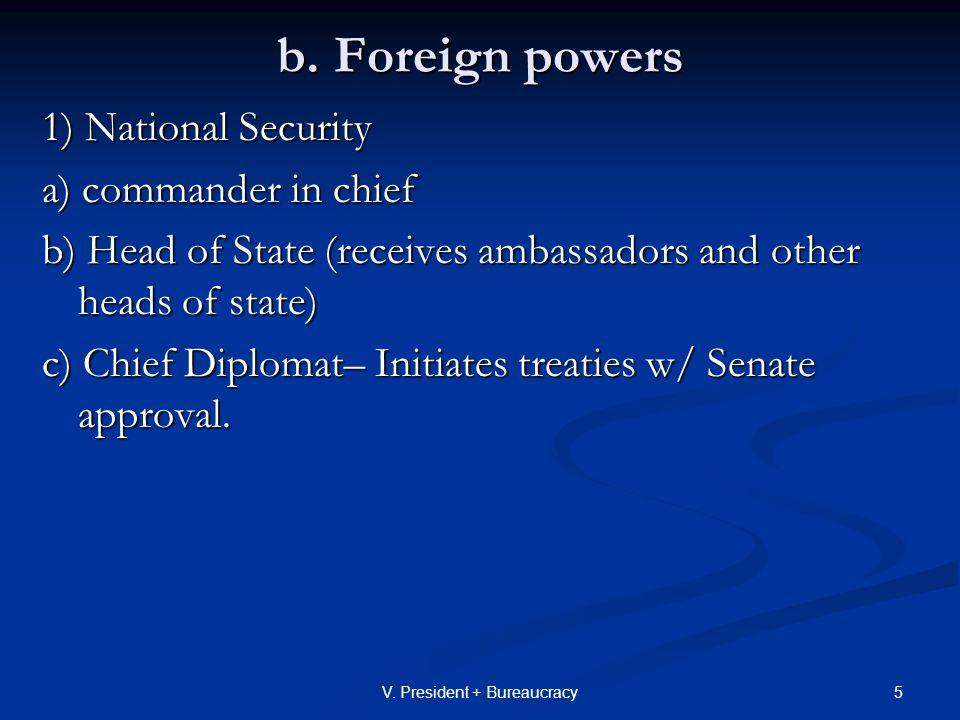 26V.President + Bureaucracy 2. Commander in Chief- Cold WAR V.