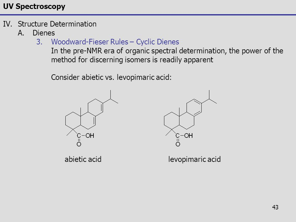 43 UV Spectroscopy IV.Structure Determination A.Dienes 3.Woodward-Fieser Rules – Cyclic Dienes In the pre-NMR era of organic spectral determination, t