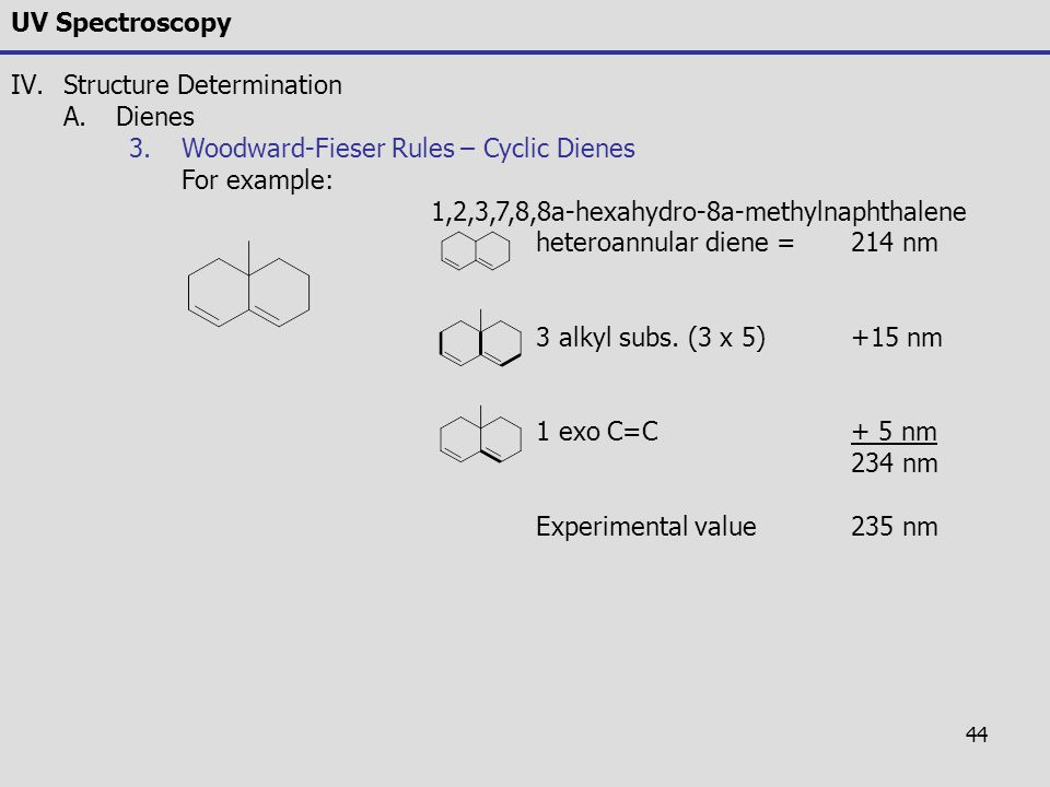 44 UV Spectroscopy IV.Structure Determination A.Dienes 3.Woodward-Fieser Rules – Cyclic Dienes For example: 1,2,3,7,8,8a-hexahydro-8a-methylnaphthalen