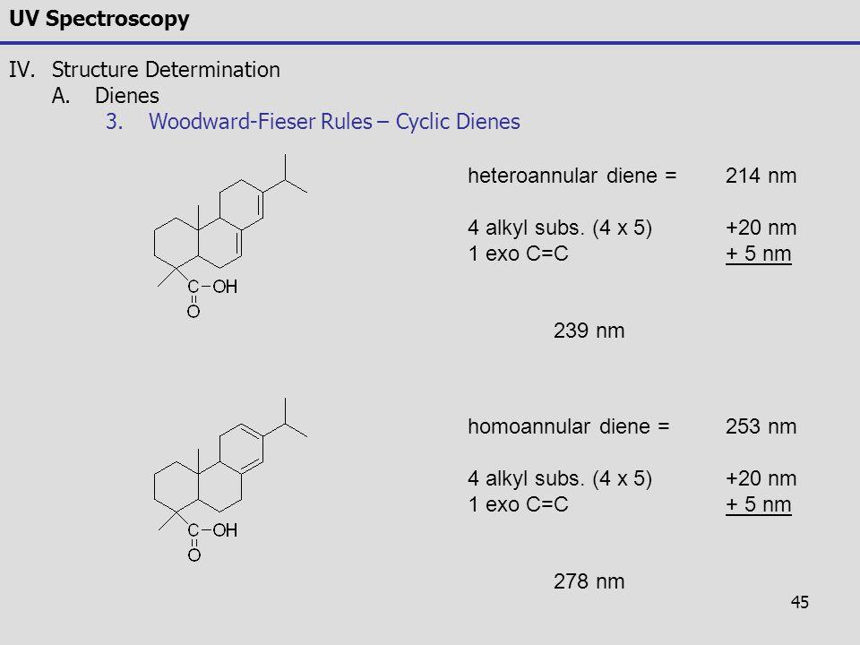45 UV Spectroscopy IV.Structure Determination A.Dienes 3.Woodward-Fieser Rules – Cyclic Dienes heteroannular diene = 214 nm 4 alkyl subs. (4 x 5)+20 n
