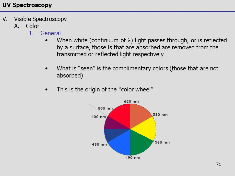 71 UV Spectroscopy V.Visible Spectroscopy A.Color 1.General When white (continuum of ) light passes through, or is reflected by a surface, those ls th