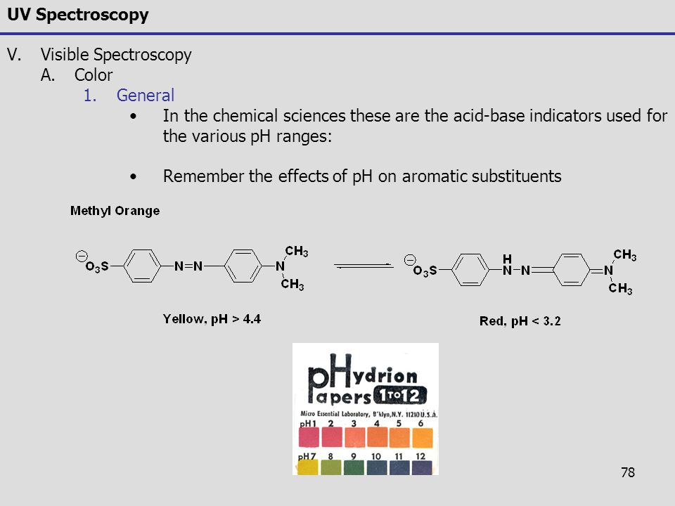78 UV Spectroscopy V.Visible Spectroscopy A.Color 1.General In the chemical sciences these are the acid-base indicators used for the various pH ranges