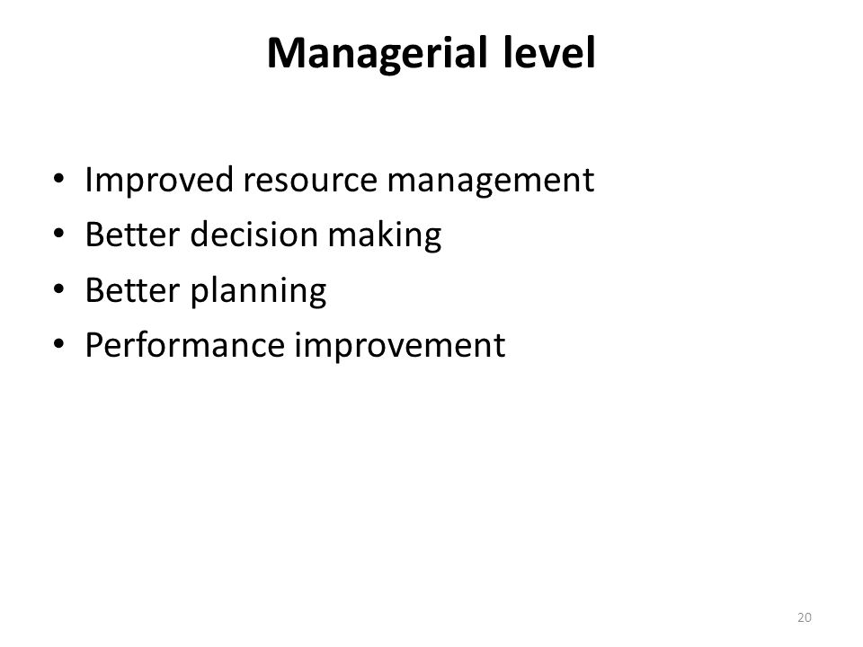Managerial level Improved resource management Better decision making Better planning Performance improvement 20