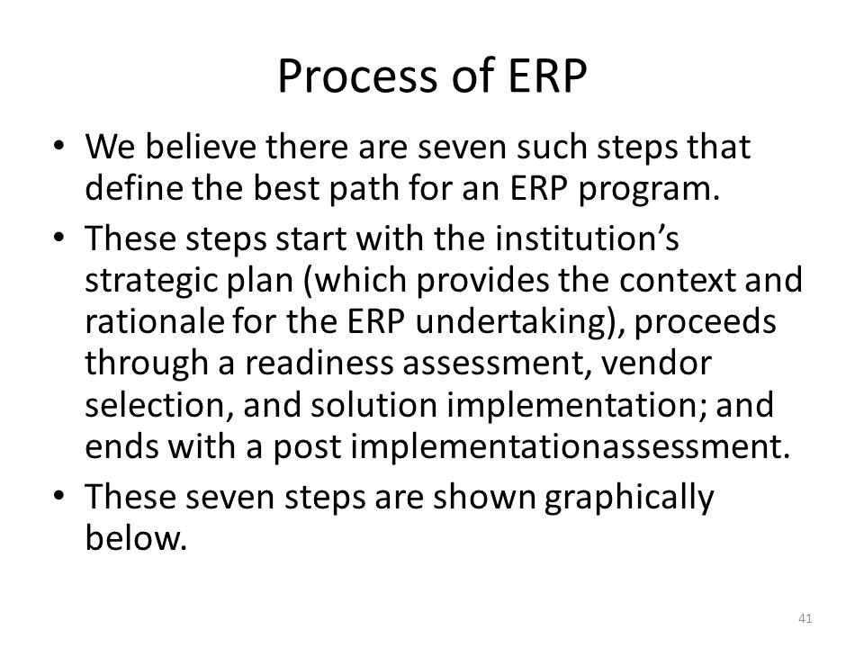 Process of ERP We believe there are seven such steps that define the best path for an ERP program. These steps start with the institution's strategic
