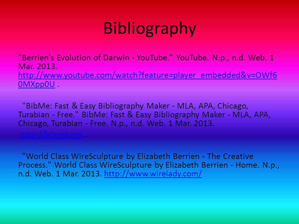 Bibliography Berrien s Evolution of Darwin - YouTube. YouTube.