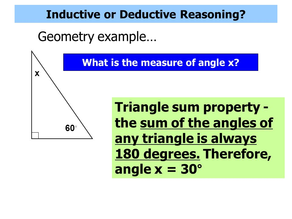 Inductive or Deductive Reasoning? Geometry example… What is the next shape in the sequence?