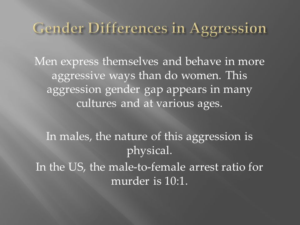 Men express themselves and behave in more aggressive ways than do women. This aggression gender gap appears in many cultures and at various ages. In m