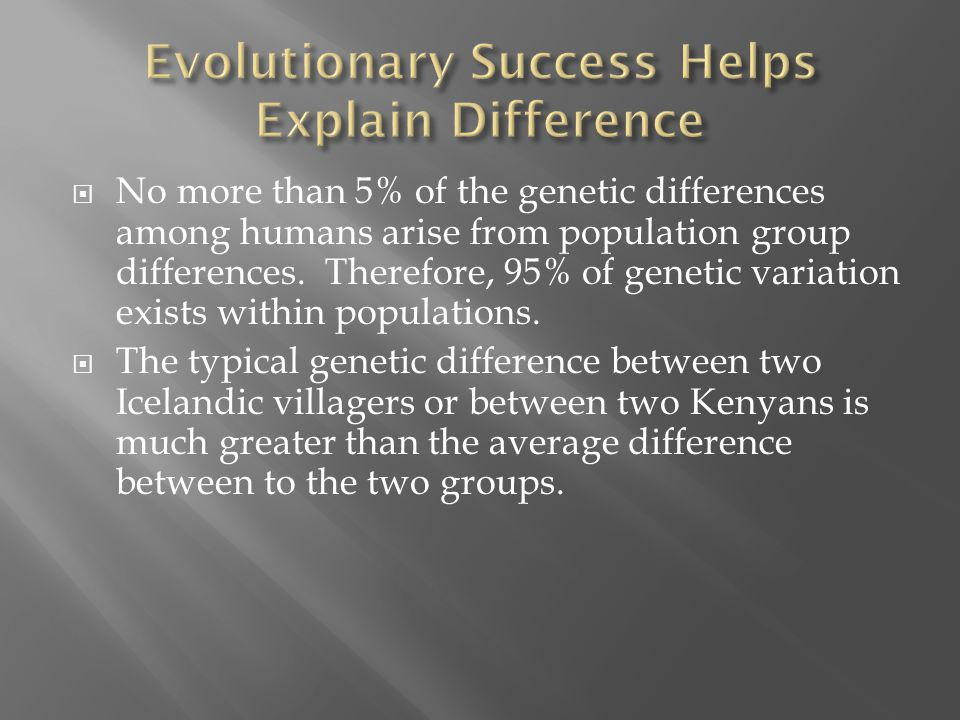 No more than 5% of the genetic differences among humans arise from population group differences. Therefore, 95% of genetic variation exists within p