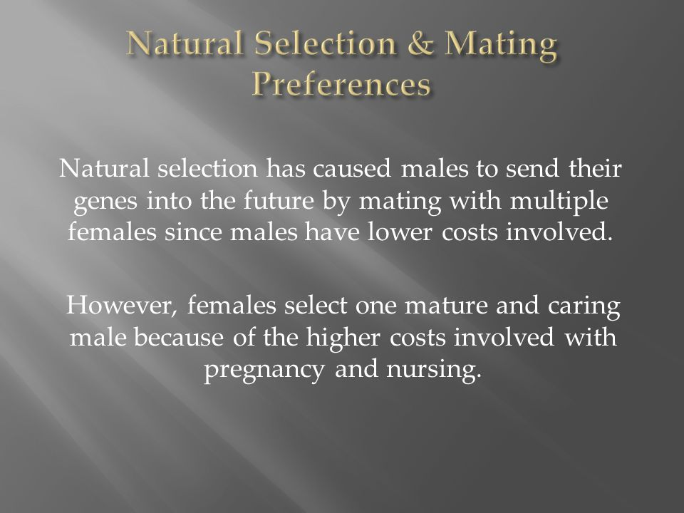 Natural selection has caused males to send their genes into the future by mating with multiple females since males have lower costs involved. However,