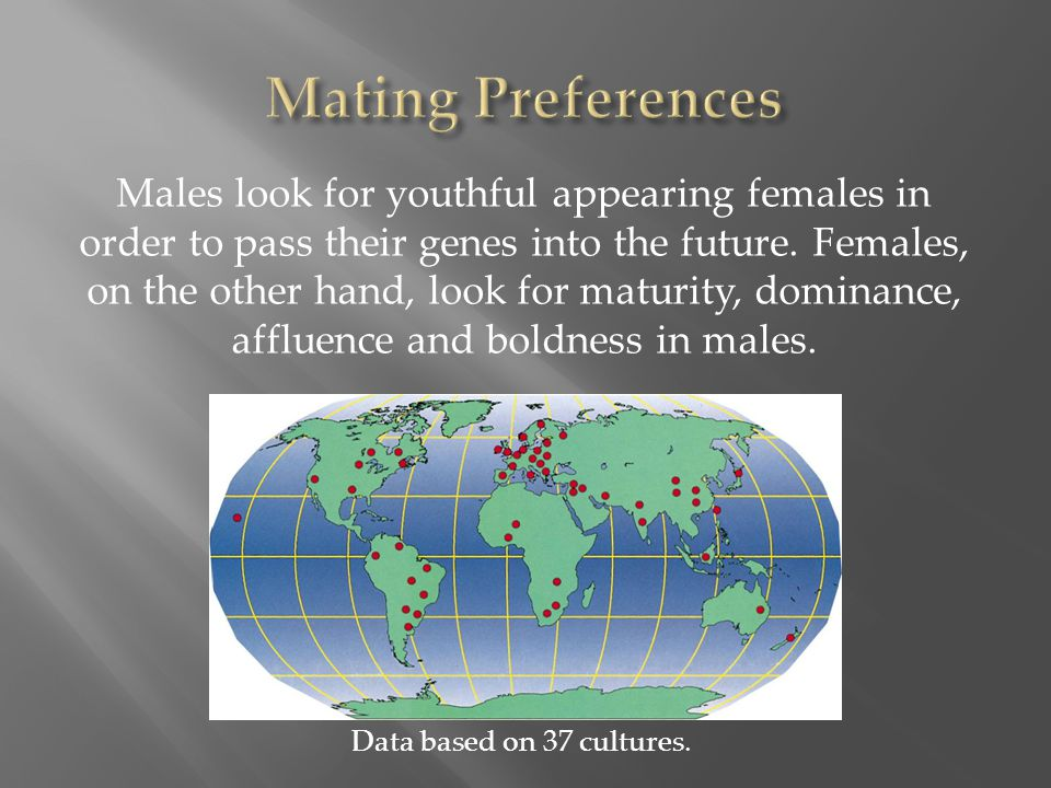 Males look for youthful appearing females in order to pass their genes into the future. Females, on the other hand, look for maturity, dominance, affl