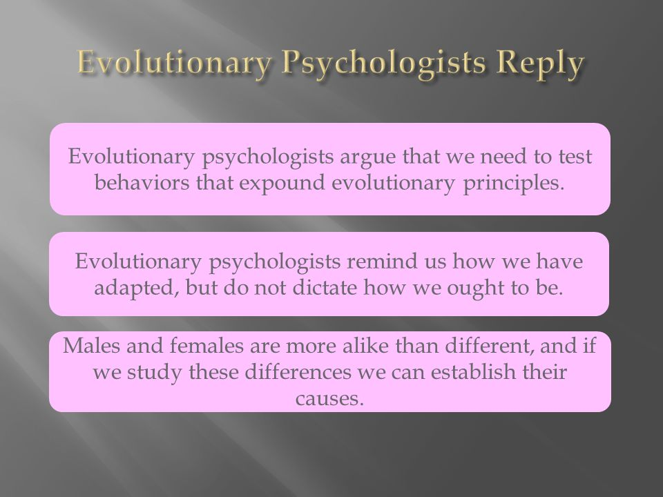 Evolutionary psychologists argue that we need to test behaviors that expound evolutionary principles.