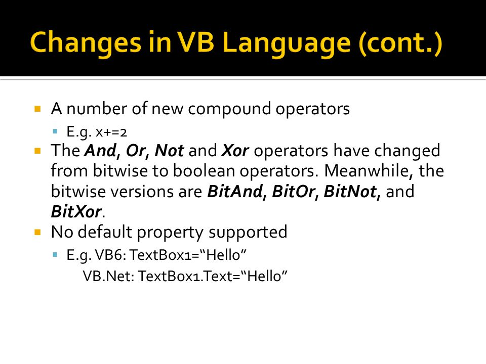  A number of new compound operators  E.g.